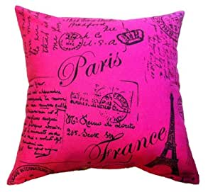 Throw Pillow Standard Size : Cathy Bome Deep Pink&White AlphabetNeat Printed Throw Pillow Cases Quality Standard Size 20