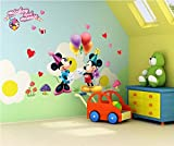 #7: Jaamso Royals ' Happy Mickey and Minnie Cartoon ' Wall Sticker (PVC Vinyl, 60 cm X 45 cm, Decorative Stickers)
