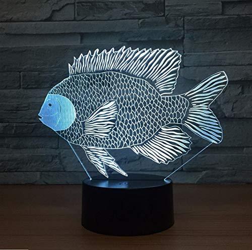 7 Colores Cambio De Tilapia Salmón Africano Dace Fish 3D Led Lámpara De Carga Usb Botón Táctil Lámparas De Mesa Increíbles Regalos De Decoración Para Niños (De Mesa Decoracion Halloween Para)