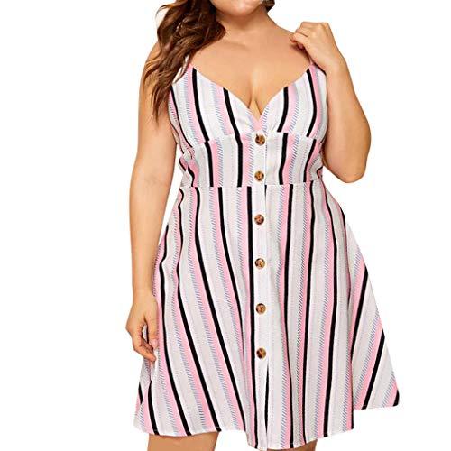 erthome Frauen Große Sexy Tiefem V-Ausschnitt Gurt Vertikale Streifen Einreiher Gürtel Kleid (XL) - Einreiher Mit Gürtel