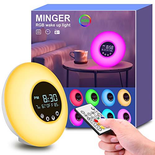 Lámpara Luces Despertador, Minger Wake Up Light con 9 Colores Ajustables, Control Remoto con Pantalla LCD de Temperatura, Radio FM, Simulación de Amanecer y Atardecer, Blanco
