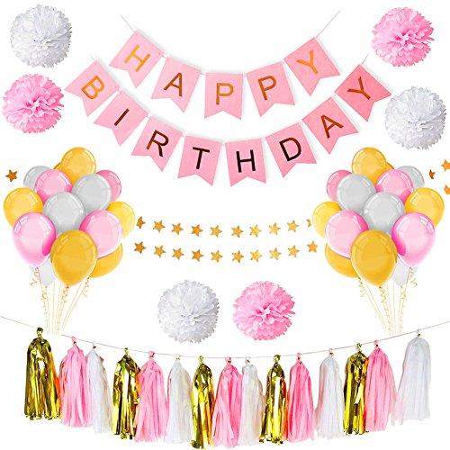 (Geburtstagsdeko, Habier Geburtstag Dekoration Set Kindergeburtstag Deko Happy Birthday Dekoration mit 30 Große Geperlte Ballons + 15 Tissue Paper Tassel Garland + 6 Tissue Papier Pom Poms + 1 Happy Birthday Banner + 1 Wimpel Banner (Rosa))