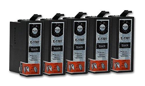 5 Cartuchos de tinta compatible con Epson T1301 (Negro)