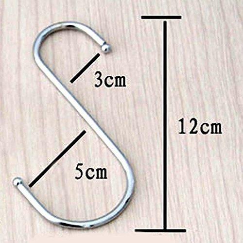 10er Packung Größere Rund S Geformt Haken in Poliertes Edelstahl Metall Größe:groß - Large (Decken-haken Große)