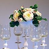 Dekowelten Kerzenständer/Kerzenhalter 5-armig in Silber oder Weiss für Stab oder Stumpenkerzen in verschiedenen Größen 30-180cm (Blumenschale Weiss 16cm)