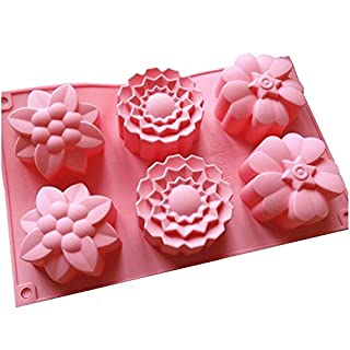 Allforhome (TM) 6 Flowers Silicone Muffin Cups Handmade Soap Moulds Biscuit Chocolate Ice Cake Baking Mold Cake Pan