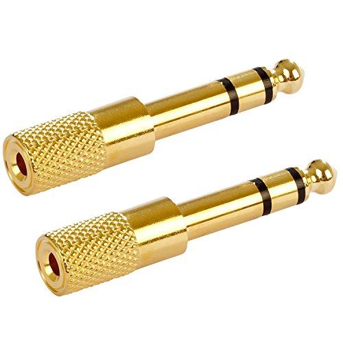 Poppstar 2X Audio Adapter Kupplung (Klinke 3,5 mm Buchse auf 6,3 mm Stecker), Klinkenkupplung für Klinkenkabel - Stereo Aux Kabel Koppeln, vergoldet