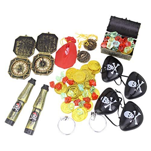 Rolanli Piraten Spielzeug Set, 60 Stücke Piraten Mitgebsel Set Kinder Piraten Party Zubehör für Karneval, Halloween und Partys (Für Halloween-party Die Schatzsuche)