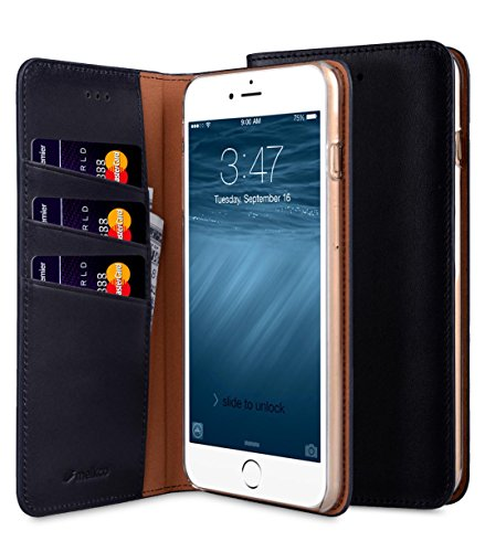 Apple Iphone 7 Plus Melkco Premium Cowhide Leather Herman Series Book Style Case mit Premium Leder Handcrafted Guter Schutz, Premium-Gefühl-Schwarz Blau