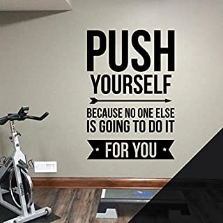 Gym Wall Art Sticker - Push Yourself because no one else is going to do it for you - Motivational Quote [Black]