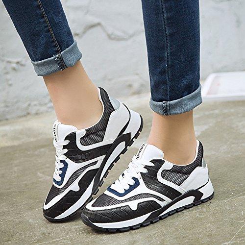 Damen Atmungsaktiv Leichtgewicht Laufschuhe Flache Gummi Sohle Dämpfung Tragen Bequem Low-Top Sneakers Weiß Schwarz