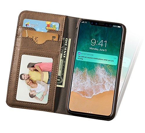 Custodia iPhone X , Custodia in pelle di Retrò Flip Wallet Case Cover per Apple iPhone X/iPhone 10 5,8 Pollici, con Chiusura magnetica (Marrone Scuro) Cachi