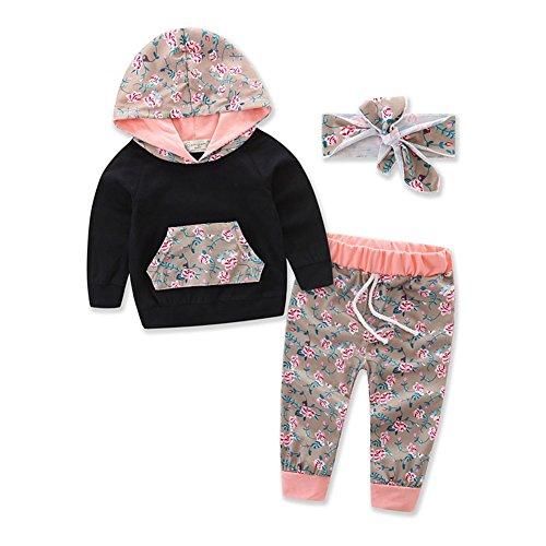Baby Mädchen 3er Set Outfit Blume Print Hoodies mit Tasche Top + Lange Hosen + Stirnband Herbst Kleidung (Neugeborenen Gerber Onesies)