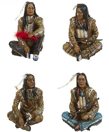 Set 4.Stk. Deko Figuren Indianer Krieger Western Wilder Westen Deko Wildwest Figuren Indianer Büste
