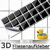 4er Set 25,3 x 5,4 cm Grandora Mosaik 3D Fliesenaufkleber W5196 selbstklebend Küche Bad Wandaufkleber Fliesendekor Folie schwarz