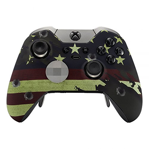 eXtremeRate® US Flag The Stars & Stripes Patterned Faceplate Frontal Shell con Soft Touch Grip para Microsoft Xbox One Elite Controller