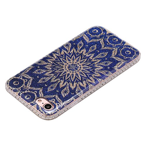 Ecoway iPhone 7/7G (4,7 zoll) IMD Case Cover, TPU Série de fleurs de porcelaine Shell autour du diamant Housse en Housse de protection Housse pour téléphone portable pour iPhone 7/7G (4,7 zoll) - A6 B6