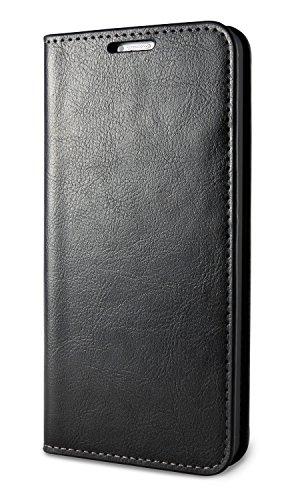 """LUNICO VERO Flip Case \""""Leon\"""" - LG G6 Lederhülle / Handytasche aus Echtleder - elegante LG G6 Handyhülle in Schwarz - LG G6 Schutzhülle mit Kartenfach und Standfunktion (LG G6 / Schwarz)"""