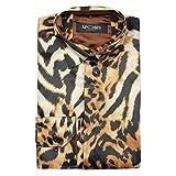 Camicia da uomo stile designer blu oro floreale Paisley stampa seta raso sensazione party