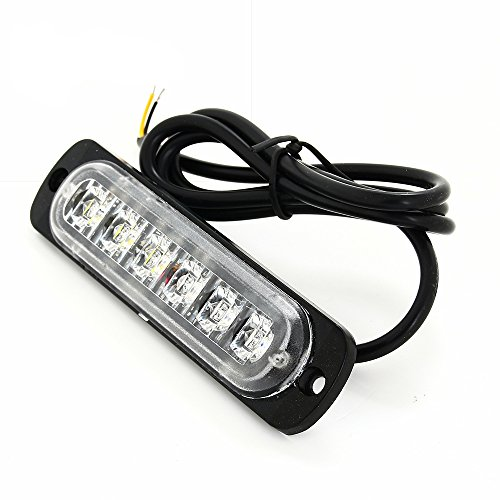 Zeile Sechs Licht (Strobe Licht, BoYu Auto Signal LED Bernstein 6 LED Car Emergency 12/24V Lampe Leuchte Flash Strobe Warning Strobe Ideal für SUV Auto Lastwagen Lieferwagen (Weiß))