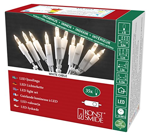 Konstsmide 6302-102 LED Minilichterkette/für Innen (IP20) VDE geprüft / 230V Innen/mit Schalter / 35 warm weiße Dioden/weißes Kabel