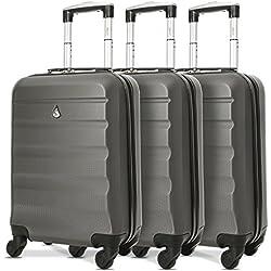 Aerolite ABS Bagage Cabine Bagage à Main Valise Rigide Légere à 4 roulettes, pour Ryanair, Easyjet, Air France, et Plus, Set de 3 Valises, Gris Foncé