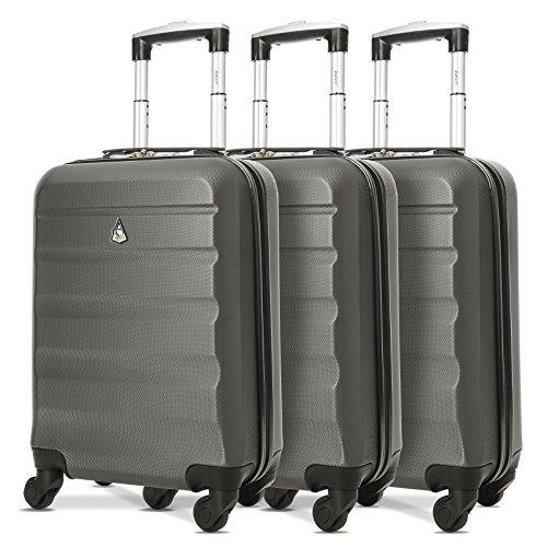 Aerolite Leichtgewicht ABS Hartschale 4 Rollen Handgepäck Trolley Koffer Bordgepäck Kabinentrolley Reisekoffer Gepäck, Genehmigt für Ryanair, easyJet, Lufthansa und viele mehr 3 Teilig Kohlegrau