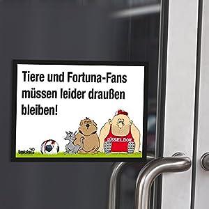 """Eingangsschild """"Tür-Markierer schützt vor befreundeten Düsseldorf-Fans"""" Alle Köln- und Gladbach-Fans aufgepasst! Lustige Fußballfan-Geschenkidee - Witziges Schild für Büro, Tür oder Eingang - Warnhinweis """"Wir müssen leider draußen bleiben"""""""