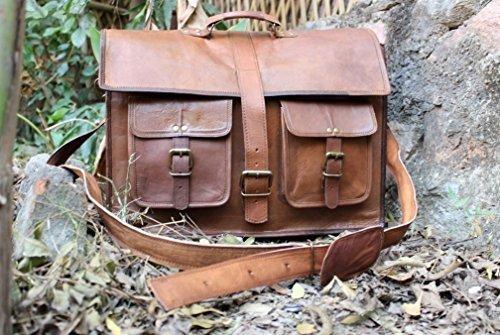handolederco.Borsa a tracolla, in vera pelle, borsa Messenger per computer con tracolla, per adulti, Unisex - 100% cuoio - dimensioni: 45,7 cm - colore: marrone