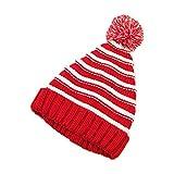 Skyeye 1*Stück Weihnachtsmütze Nikolaus-Mütze Xmas Mütze Wintermütze Gestreifte Mütze für Kinder Mütze mit Hut