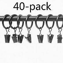flerise 40anillas negras mate de Metal para cortina con clips (2,5 cm), negro, 1.5''