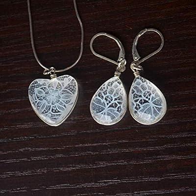 Lis Blanc Dentelle Fleur Demoiselle d'honneur Mariage Cœur Amour 925 Sterling Argent Ensembles de bijoux Collier Des boucles d'oreilles