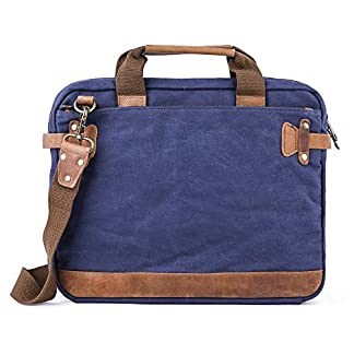 gootium Ready-led High Density Canvas Genuine Leather Laptop Bag Maletín