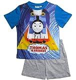 Thomas die kleine Lokomotive Kollektion 2018 Schlafanzug 86 92 98 104 110 116 Pyjama Kurz Shortie Shorty Thomas und Seine Freunde (Blau-Grau, 86-92)
