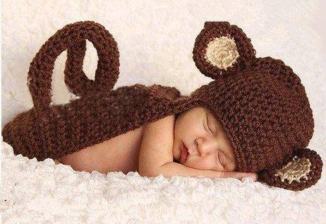 Cute Baby Newborn Infant handgefertigt Crochet Beanie Hat kleine Affe Hat Stil Baby Kleidung fotografiert Zubehör, Cartoon Fashion Kinder Fotografie Requisiten Foto Requisiten Kostüm Kleidung tragen (geeignet für Babys 0–46Monate (Beanie Affe Kostüm Baby)