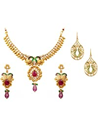 Touchstone Gold Plated Combo Of Traditional Peacock Style Party Wear Necklace Set With A Pair Of Hanging Earrings...