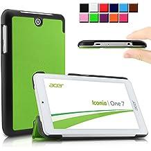 Infiland Acer Iconia ONE 7 B1-770 Funda Case-Ultra Delgada Tri-Fold Smart Case Cover PU Cuero Smart Cascara con Soporte para SAcer Iconia One 7 B1-770 - Tablet 7'' IPS (7 pulgadas) Tablet-PC(Verde)
