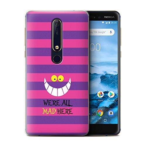 Stuff4® Hülle/Case für Nokia 6 2018 (6.1) / Cheshire Cat/Verrückt Hier Muster/Fantasie-Wunderland-Kunst Kollektion