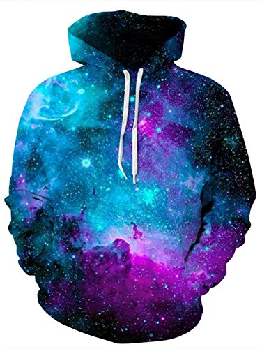 Idgreatim Herren Frauen Kapuzenpullover Pullover Hoodie Galaxy Printed Lose Beiläufige 3D Hooded Sweatshirt Jacke Mäntel