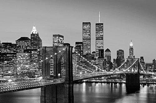 Fototapete BROOKLYN BRIDGE 175x115 New York Manhattan bei Nacht USA Twin Towers - Twin Towers, Brooklyn Bridge