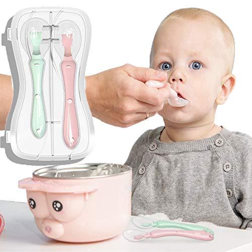 HyAdierTech Cucharas Siliconas Bebé, 2 Piezas Cucharillas de Silicona Suaves de Bebe, Utensilios de la Serie de Entrenamiento Cuchara para Bebés Antideslizante Facilidad Manija