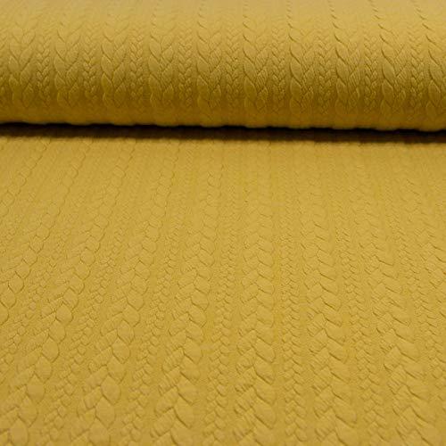 Jacquard Jersey Zopfstrick hell senfgelb Modestoffe Strickstoffe Winterstoffe - Preis Gilt für 0,5 Meter