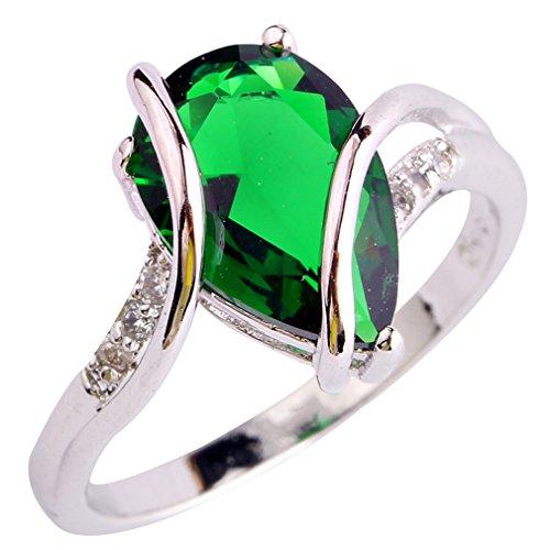 YAZILIND Vintage Wedding Smaragd Waterdrop Kristall-Silber überzogenen Statement Ring für Frauen Größe8