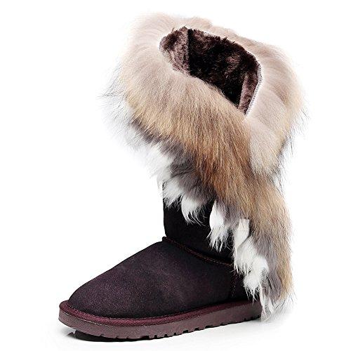 Jamron Damen High-End Wildleder Mittelkalb Schneestiefel Thermisch Wool Futter Elegant Winterstiefel Kaffee SN2810 EU36 -