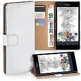moex Sony Xperia Z1 Compact | Hülle Weiß mit Karten-Fach 360° Book Klapp-Hülle Handytasche Kunst-Leder Handyhülle für Sony Xperia Z1 Compact / Z1 Mini Case Flip Cover Schutzhülle Tasche