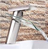 Bijjaladeva Wasserfall Mischbatterie Waschbecken Waschtisch Armatur Waschbeckenarmatur für BadezimmerMetall Fliesen Glas Wasserfall Waschbecken Wasserhahn Warmes und Kaltes Voll Kupfer Wasserhahn