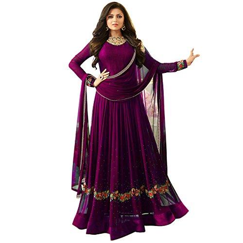 Q&Q Women's Faux Georgette Dress Material (Q&Q_Free Size_Purple)