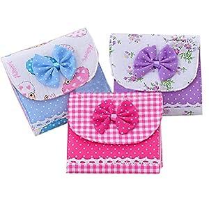 2 Pcs Cute Bowknot Polka Dot 2 Pcs Women Girls Cotton Fabric Sanitary Napkin Storage Bag Sanitary Pad Pouch Case Holder Package Organizer Sanitary Towel Purse Bag Random Color