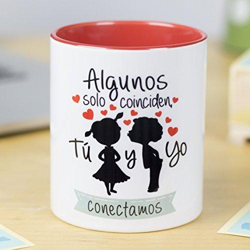 La Mente es Maravillosa - Taza con frase de amor y dibujo romántico (Algunos coinciden, tú y yo conectamos) Regalo para San Valentín