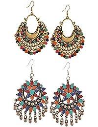 YouBella Fashion Jewellery Stylish Afghani Tribal Fancy Party Wear Earrings for Girls and Women